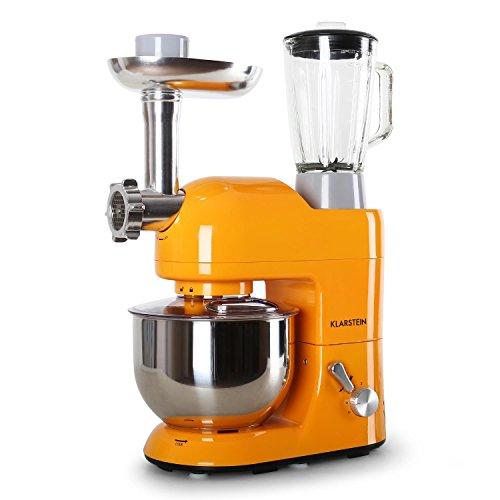 Klarstein Lucia Orangina Robot de Cocina • multifunción • 1.6 HP • accesorios para carne y pasta • vaso de cristal 1.5 l • recipiente de acero inoxidable 5 l • batidora • amasadora • picadora • Naranja
