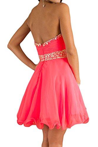 Ivydressing Damen Zaertlich A-Linie Kurz Festkleid Promkleid Cocktailkleid Abendkleid Wassermelone