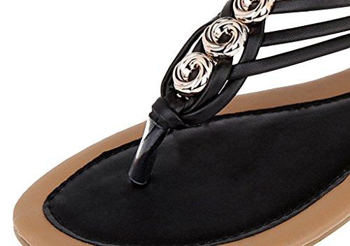 La Vogue Sandales Femme Plate Bout Ouvert Tongs Plage Strass Chaussure Bohême Nu Pied Été Noir