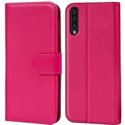 Verco Galaxy A50 Hülle, Handyhülle für Samsung Galaxy A50 Tasche PU Leder Flip Case Brieftasche - Pink