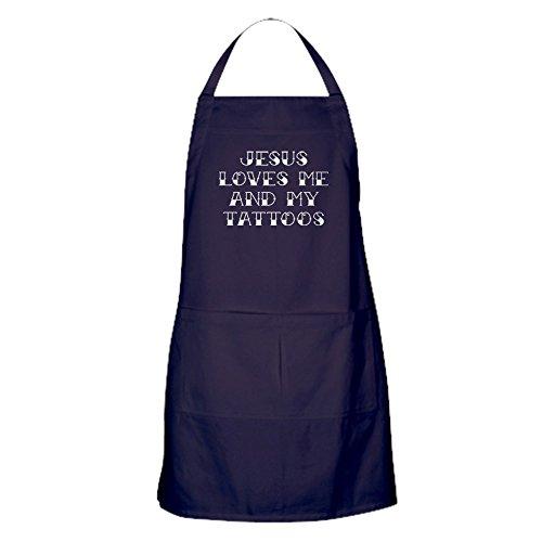 CafePress Küchenschürze mit Taschen - Jesus Loves Me And My Tattoos
