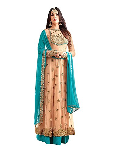 RTHub Women\'s Net Embroidered And Hand Work Semi Stitched Anarkali salwar suit (Orange_Free-Size_Maskeen-Orange)