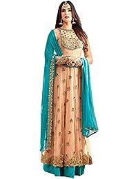 KFHub Women's Net Semi Stitched Embroidered And Hand Work Anarkali Salwar Suit Dupatta(Free-Size_Maskeen)