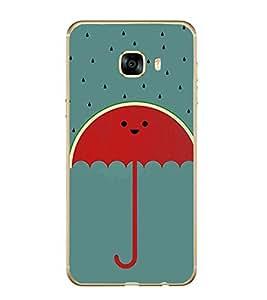 Fiobs Designer Back Case Cover for Samsung Galaxy C7 SM-C7000 (Multicolor Umbrellas)