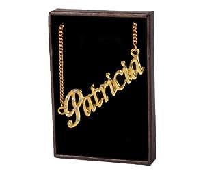 """Nom Colliers """"PATRICIA"""" – Collier personnalisé Plaqué or 18 carats, un cadeau pour Noël, la St Valentin ou la Fête des Mères, vendu avec sac et boitier cadeaux."""
