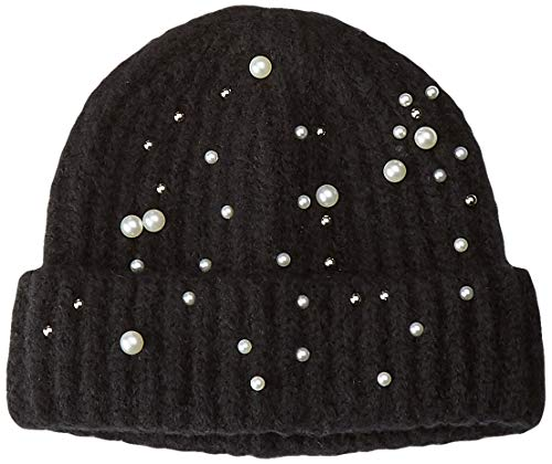 PIECES Damen PCFELIA Pearl Hood DC Strickmütze, Schwarz (Black), One Size -
