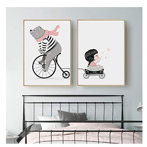NR Ours Tirant Panier Toile Peinture Mignon Petit Ours Fille Affiche Chambre d'enfants Maternelle Peinture Décorative Photos-60x80 cm x 2 pcs Pas de Cadre