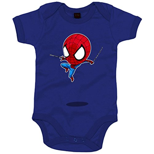 Body bebé Chibi Kawaii Spiderman parodia - Azul Royal, 6-12 meses