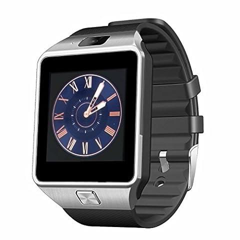 Montre Connectee ,Anding Smart Smart Watch Carte GSM SIM TF avec caméra réveil Podomètre Sleep Monitor pour Apple IOS et Android Smartphone (Argent)