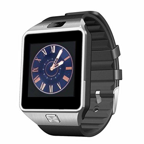 Bluetooth Smart Watch,Anding DZ09 smart uhr GSM SIM TF Karte mit Kamera Wecker Schrittzähler Schlaf Monitor für Apple IOS und Android Smartphone (Silber)
