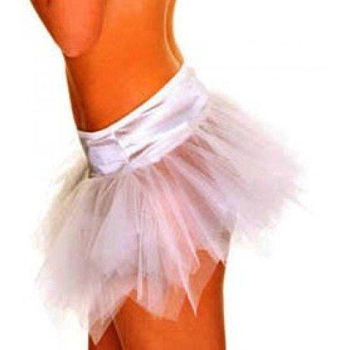 less is more 5-lagiger Mini-Petticoat Tutu Tüllrock Rock Minirock Kostüm-Zubehör Ballett Karneval, Farbe:Weiß;Größe:XS/S