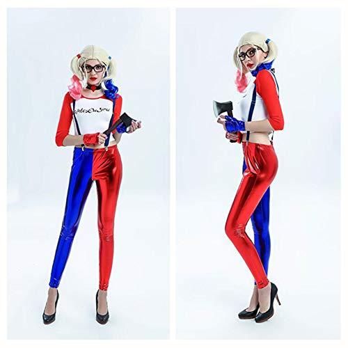 Girl Kostüm Clown Halloween - XIONGDA Halloween Cosplay Clown Girl Kostüm Maskerade Party Selbstmordkommando Harry Kostüm Requisiten Sightseeing Kleidung Beinhaltet T-Shirt, Trägerhose, Kragen, Handschuhe