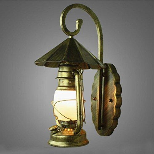 applique da parete lampada da parete di ferro camera da letto della lampada da parete (Vecchio Bronzo 2 Lampadina)
