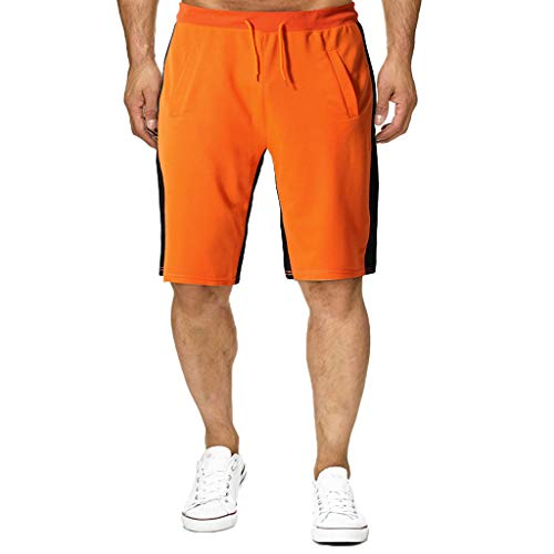 MONDHAUS Herren Beiläufig Shorts Baumwolle Sport Jogger Classic Fit Sommershorts Badehose für Herren Jungen Badeshorts,Orange,M -