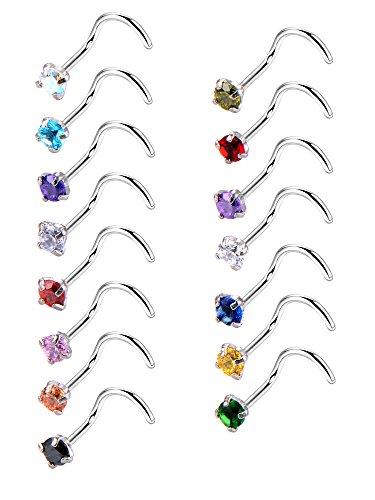 20 gauge 15 pezzi curvo naso anello in acciaio inox naso a bottone zirconia cubico vite piercing gioielli per corpo