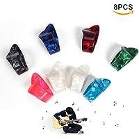 ETGtek(TM) Guitarra del dedo pulgar de plástico ajustable Selecciones Selecciones púas -Pack de 8