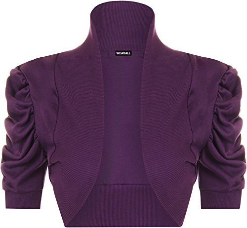 PaperMoon–Bolero da donna, a maniche corte,14colori,taglia 42–48 Viola
