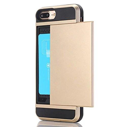 iPhone 7 Plus Coque,Lantier [Doux TPU Bumper+dur PC] résistant aux chocs à double couche Armure Wallet Etui de protection Defender avec porte-cartes pour Apple iPhone 7 Plus Vert Gold
