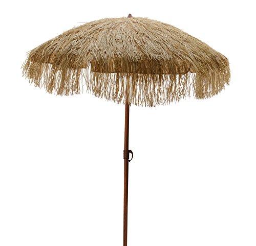 zeitzone Sonnenschirm Hawaii Strandschirm Beige Fransen Erdspieß Neigbar Höhenverstellbar