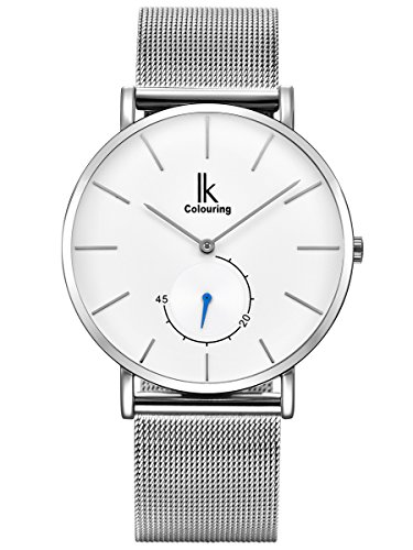 Alienwork Herren Damen Armbanduhr Quarz Silber mit Metall Mesh Armband Edelstahl Ultra-flach Slim-Uhr