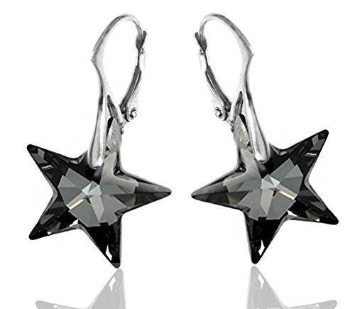 Königliche Kristall Black Star Brisuren Ohrringe Sterlingsilber mit Swarovski Strass für Damen (Ohrringe Black Star)