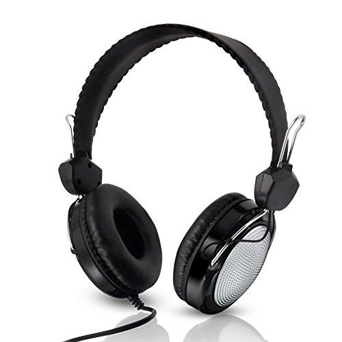 Ousheq Kinder-Ohr-Kopfhörer, faltbar, mit Kabel, Over-Ear-Kopfhörer, Stereo, verhedderungsfreies Kabel, On-Ear-Headset für Kinder, integriertes Mikrofon weiß