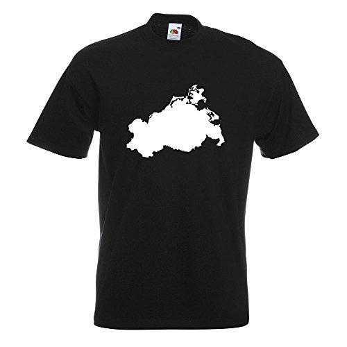 KIWISTAR - Mecklenburg - Vorpommern Silhouette T-Shirt in 15 verschiedenen Farben - Herren Funshirt bedruckt Design Sprüche Spruch Motive Oberteil Baumwolle Print Größe S M L XL XXL Schwarz