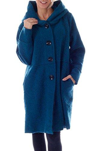 CHARIS MODA Wollmantel zum Knöpfen mit Kapuzen-Schalkragen im aktuellen Oversize Look (Türkis Blau)
