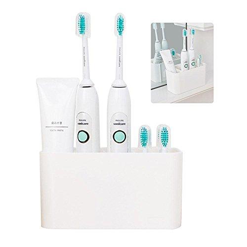 Zahnputzbecher Weiß Kunststoff,Easy-StoreZahnbürstenhalter Zahnpasta Halter Saugnapf Elektrozahnbürsten Zahnbürstenhalter Ständer -