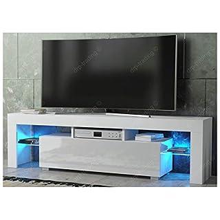 DRP Trading Modern TV Unit 160cm Cabinet White Matt and White High Gloss FREE LED RGB Lights