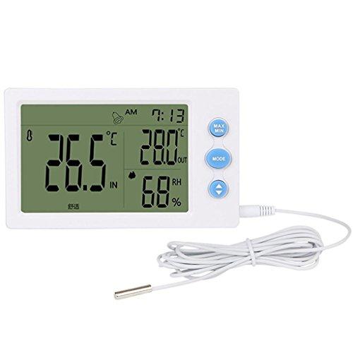 ZHAS Digitale LCD-Thermometer Hygrometer Wecker Wetterstation Indoor Outdoor Instrument mit Sonde