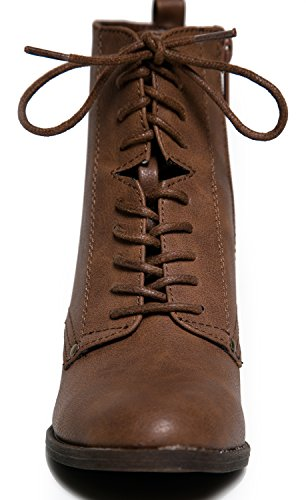 Spitze bis Vintage inspiriert Military Combat Ferse Boot Bootie-10 Hautfarben