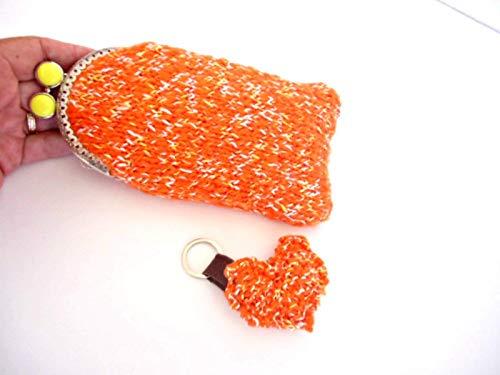 Handgestrickte orange Fleck Kuss Verschluss Verschluss Brillenetui, Sonnenbrillen Tasche für Frauen