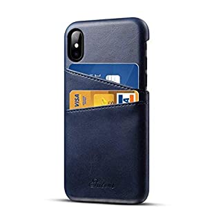 Airart iPhone X iPhone XS Leather Case with Cards Holder, Premium Vintage Wallet Case, Ultra Slim Professional Executive Snap On Back Cover Compatible iPhone X/XS - Blue