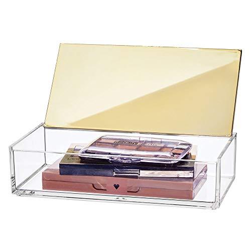 mDesign kleine Kosmetikbox mit Deckel - ideale Make-up Aufbewahrung für das Bad oder den Schminktisch - praktische Schminkaufbewahrung für Lippenstift, Concealer & Co. - durchsichtig und messingfarben