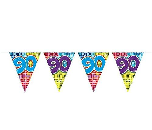 90.Geburtstag Deko Girlande mit Zahl 90 Wimpelgirlande Wimpelkette mit 15 Flaggen und 6m lang Dekoration zum 90er Geburtstag Party oder andere Anlässe