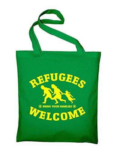 Refugees Welcome Logo Jutebeutel, Beutel, Stoffbeutel, Baumwolltasche, schwarz Grün