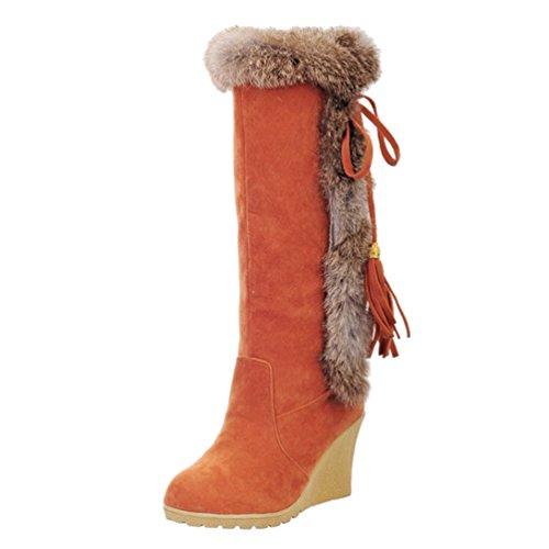 Yiiquan Damen Warme Stiefel Mittlere Höhe mit Dicken Gefüttert Keilabsatz Kunstpelz Schneeschuhe (Orange, 38 EU)