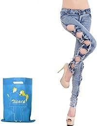 Zicac - Sexy Jeans femme slim avec bows du côté du jean - unique & élégant