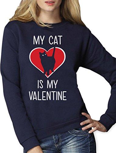 My Cat Is My Valentine Valentinstag Katzenliebhaber Frauen Sweatshirt XX-Large (Christmas Pullover Crazy Ideen)