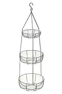 Kitchen Craft Panier à fruits en fil de fer 3 étages À suspendre