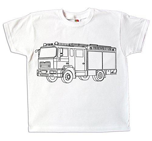 Kinder T-Shirt Feuerwehr zum bemalen und ausmalen mit Vordruck Spiel zum Kindergeburtstag Kindergarten für Jungen und Mädchen (104)