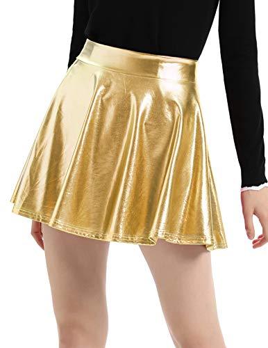 Damen Kunstleder Flüssigkeit Wet Look Bodycon Party Swing Röcke Gold XXL Gold-metallic-rock