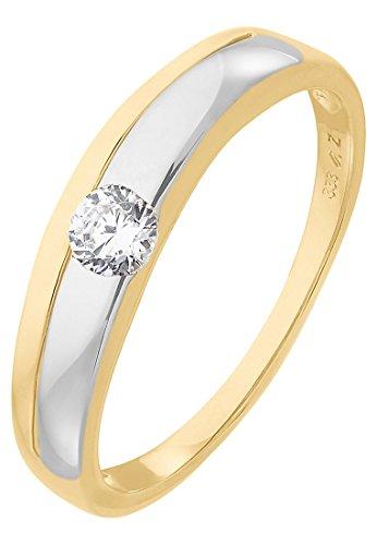Amor Damen-Ring 333er Gelbgold bicolor/silber/gold, 60 (19.1)