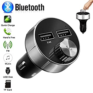 Fm Transmitter,Wireless Bluetooth-Auto-MP3-Player Universal-Ladegerät Auto Radio Bluetooth Adapter Freisprecheinrichtung mit Mikrofon Dual USB Ladegerät 5V/3.4A TF USB Musik (Schwarz)