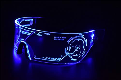 Cyberpunk Sonnenbrille mit LED-Beleuchtung, perfekt für Cosplay und Festivals, Cybergoth blau
