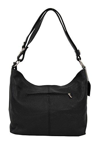 AMBRA Moda Damen Leder Handtasche Schultertasche Umhängetasche Hobo bag GL005 (Schwarz Black) (Leder Damen Hobo Handtasche)