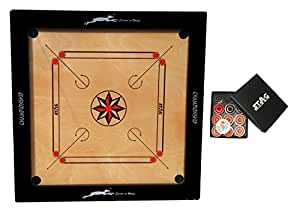"""STAG CHAMPIONSHIP CARROM BOARD 4"""" BORDER x 12mm Plywood With Coins"""