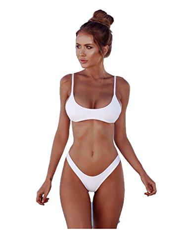 2018 Womens Sexy couleur unie bikini brésilien ensemble - Triangle String Soft rembourré fendue bikini ensemble de maillot de bain 2 pièces (XXL, White)