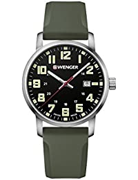 Wenger Men's 'Sport' Swiss Quartz Stainless Steel and Silicone Casual Watch, Color:Green (Model: 01.1641.112)